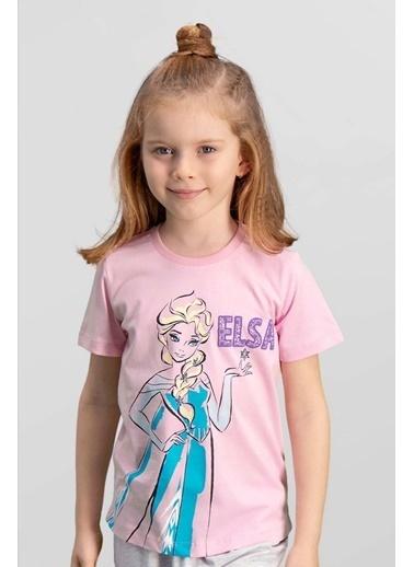 Frozen Karlar Ülkesi Elsa - Frozen Lisanslı Mavi Kız Çocuk T-Shirt Pembe